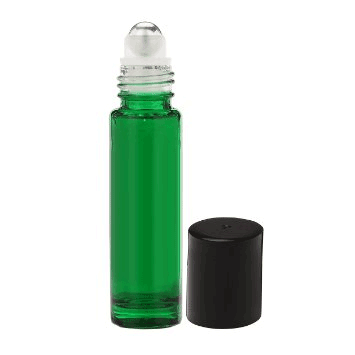 10-ml Green Roll On Glass Bottle