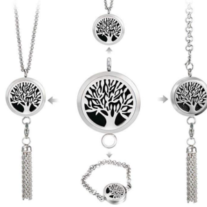 Multifunctional Aromatherapy Essential Oil Diffuser Necklace & Locket Bracelet with 316L Stainless Steel Tassel Pendant + 8Pad