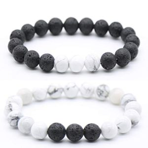 Fanmlife 2pcs Bracelets 10mm Natural Volcanic Lava Stone White Turquoise Stone Aromatherapy Essential Oil Diffuser Bracelets Couples Yoga Beads Stretch Bracelets for Men and Women