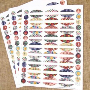 81 Kaleidoscope Oval Poly Weatherproof Essential Oil Bottle Labels Plus 81 Top Stickers